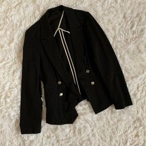 WHBM Black Ponte Military Blazer Jacket